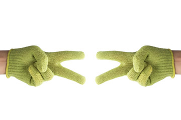 isolated hand in glove, number two, sign of victory