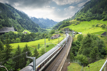 Modern train in Swiss Alps