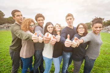 Multiethnic Group of Friends with Thumbs Up