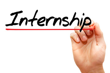 Hand writing Internship with marker, business concept