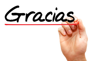 Hand writing Gracias with marker, business concept