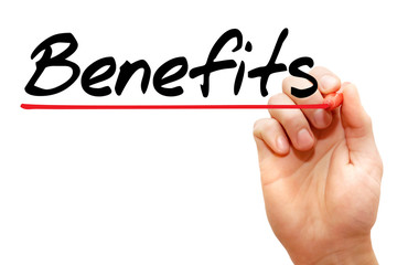 Hand writing Benefits with marker, business concept