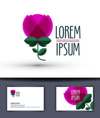 flower vector logo design template. rose or plant icon.