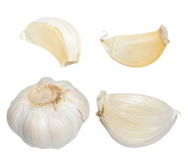 Garlic isolated on white background,  with clipping path