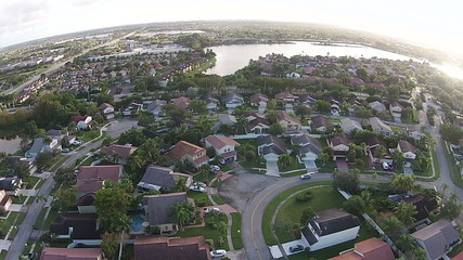 Suburban middle class homes in Florida aerial view