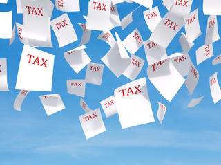 tax papers flying
