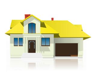 Dom z żółtym dachem