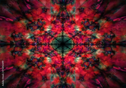 Red and black kaleidoscope pattern - 75842699