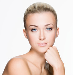 Beautiful woman with beauty face - isolated