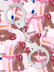 handcuffs on ten euro background