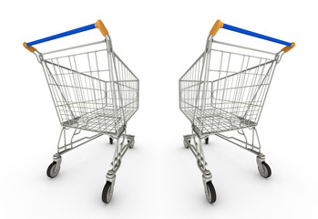 Two Empty Shopping Carts