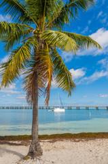The yacht in the bay of Bahia Honda Key, Florida, US