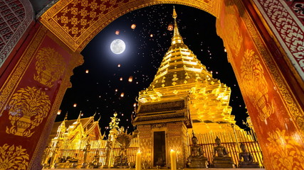 Wat Phra That Doi Suthep Temple And Sky Lanterns