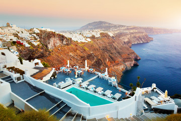 Fira, the capital of Santorini island, Greece at sunset