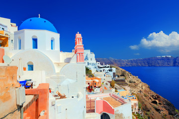 Oia town on Santorini island, Greece. Aegean sea