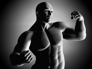 Mesh model of strong man posing and exposing his muscles