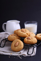 cookies with sesame paste and almonds
