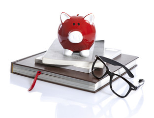 Red Piggy Bank with books