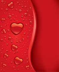 valentine romantic red water drops with shape heart
