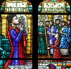 Stained glass in Votiv Kirche in Vienna, Austria