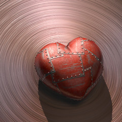 Metal Heart. Clipping path included.