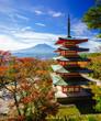 canvas print picture - Mt. Fuji with Chureito Pagoda, Fujiyoshida, Japan