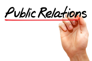 Hand writing Public Relations with marker, business concept