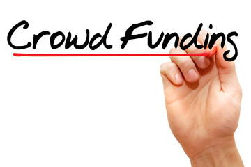 Hand writing Crowd Funding with marker, business concept