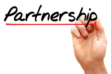 Hand writing Partnership with marker, business concept