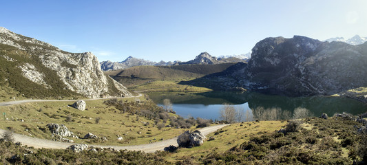 Enol lake on National Park of Picos de Europa in Asturias, Spain