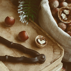 Decoration with nutcracker, nuts, old books and pine twigs