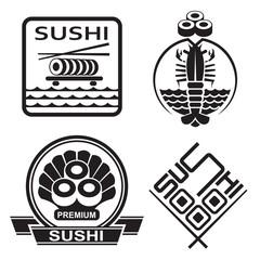 monochrome set of sushi icons