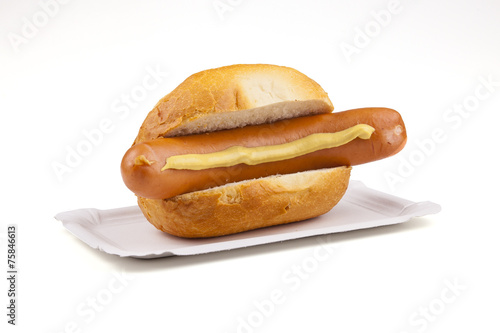 Tuinposter Grill / Barbecue german sausage - Deutsche Bockwurst