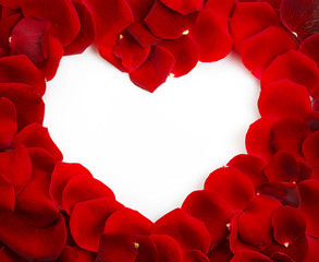 Red Rose Heart Shape with copy space