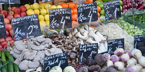 gemüse, obst, marktstand