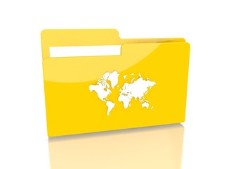 file folder with international sign