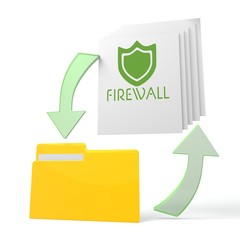 work flow file folder with firewall sign
