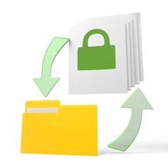 work flow file folder with secure symbol