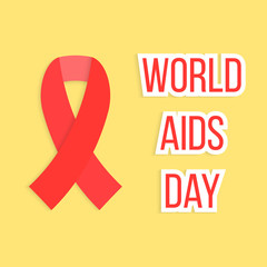 concept of world AIDS day with red ribbon