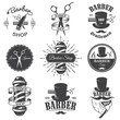 Set of vintage barber shop emblems - 75848655