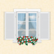 white window with shutters and flowers - 75848699