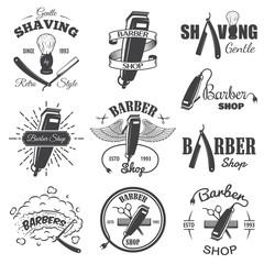 Second set of vintage barber shop emblems.