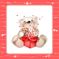 Teddy bear with a box of hearts4