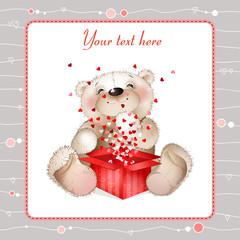 Teddy bear with a box of hearts3