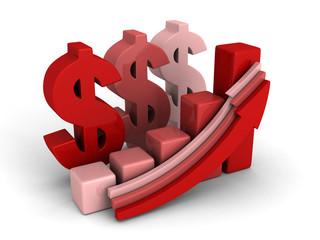 dollar financial success bar chart graph growing up arrows