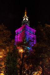 Warsaw Palace of Culture and Science at nighttime