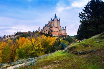Castle of Segovia  in november day