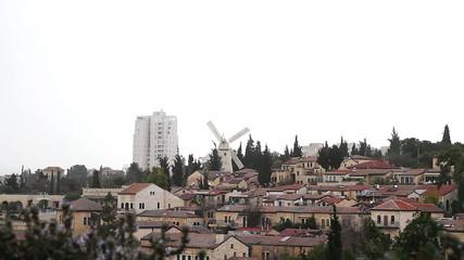 Panorama of West Jerusalem Yemin Moshe neighborhood .