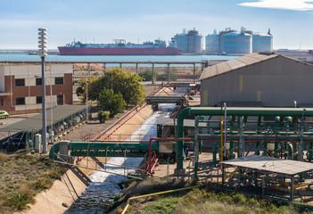 Canal De Desagüe Y Depósitos De Gas En Una Zona Industrial