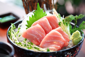 close up japanese food from tuna in ceramic dish